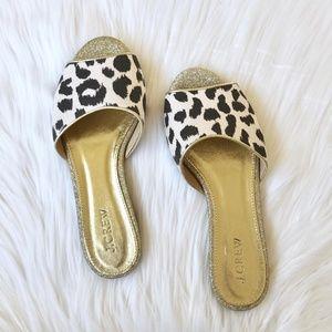 Jcrew Leopard Gold Slide Sandals